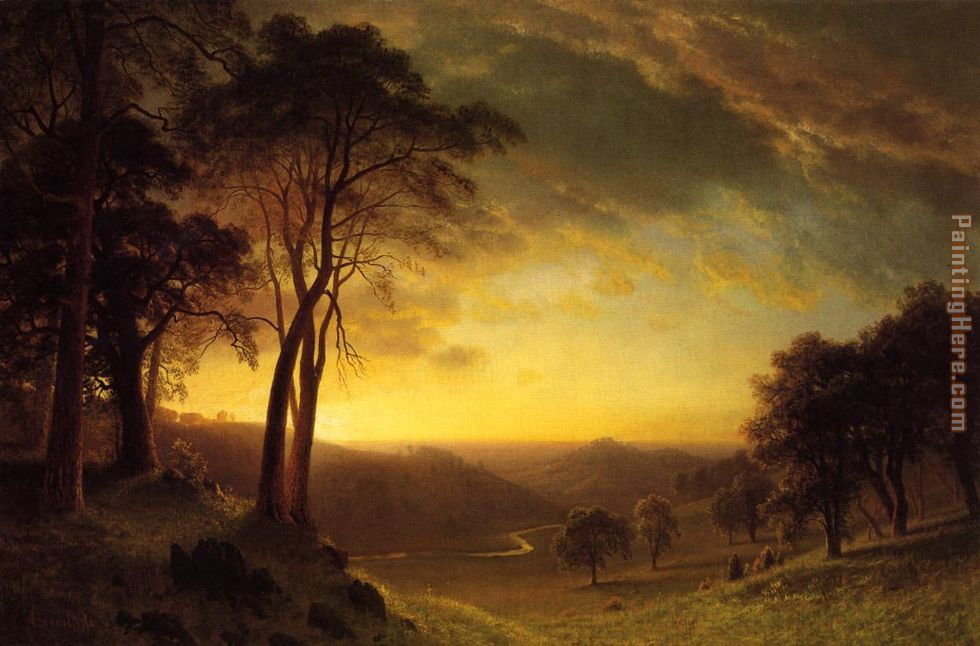 Albert Bierstadt Sacramento River Valley Art Painting