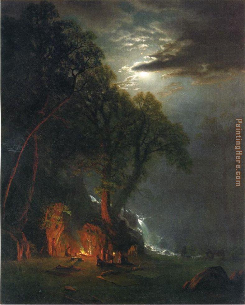 Albert Bierstadt - Albert Bierstadt Campfire Site Yosemite PaintingCampfire Painting