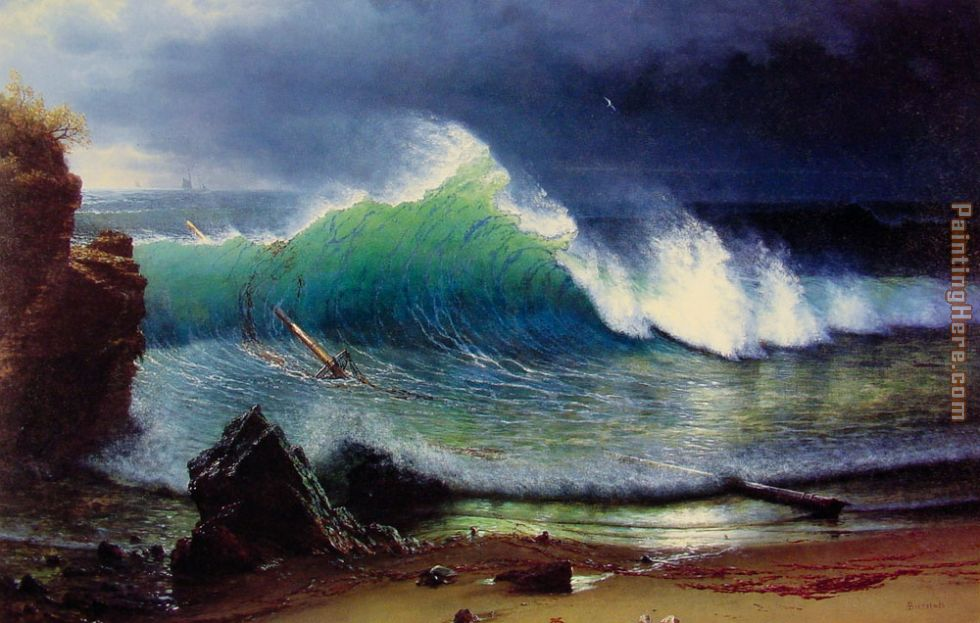 Albert Bierstadt The Shore of the Turquoise Sea Art Painting