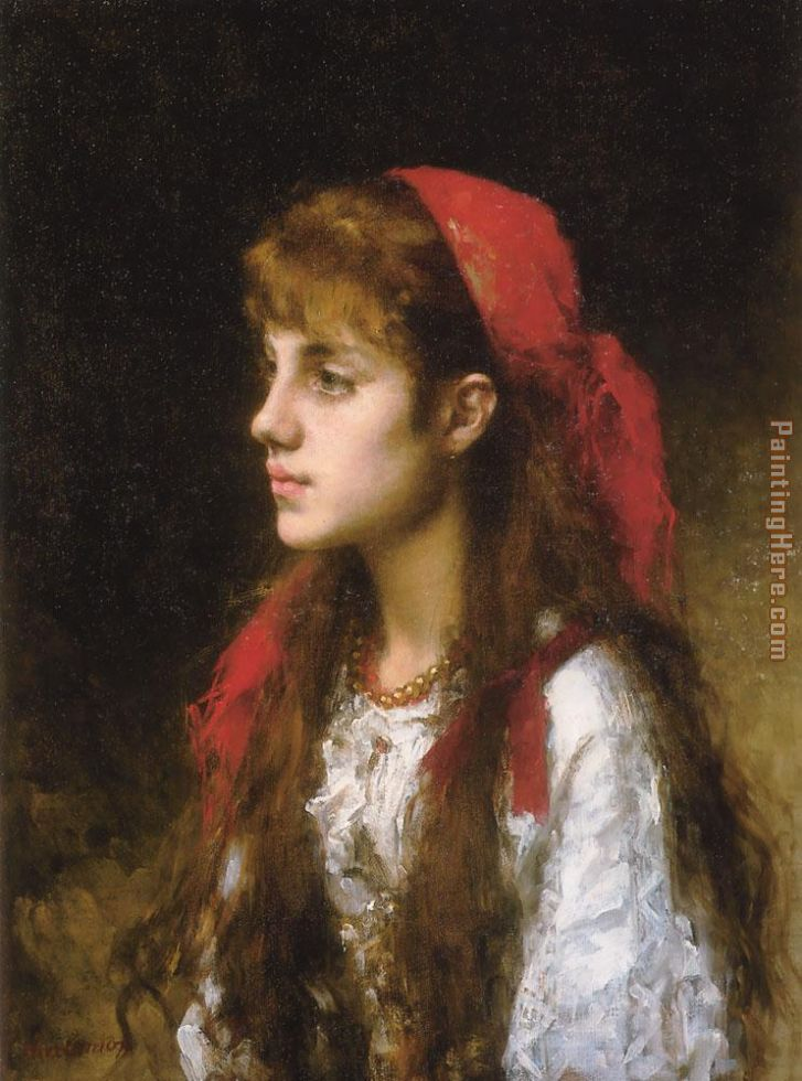 A Russian Beauty painting - Alexei Alexeivich Harlamoff A Russian Beauty art painting