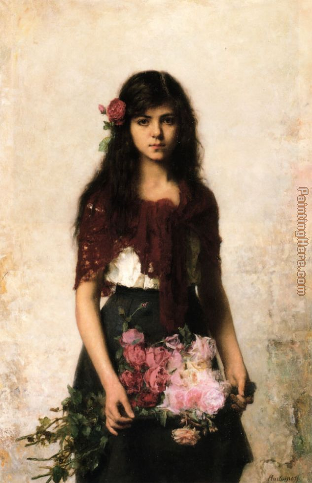 The Flower Seller painting - Alexei Alexeivich Harlamoff The Flower Seller art painting