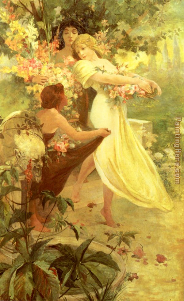 Spirit of Spring painting - Alphonse Maria Mucha Spirit of Spring art painting