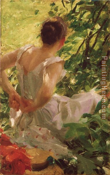 Woman dressing painting - Anders Zorn Woman dressing art painting