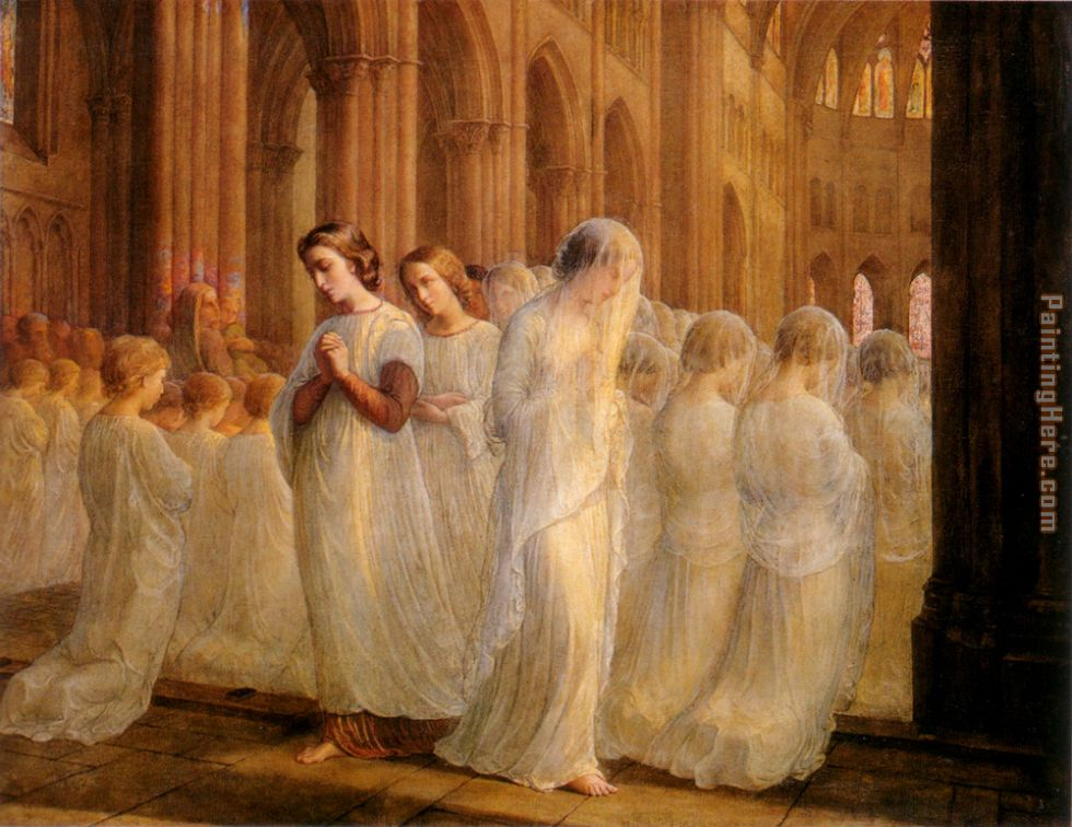 Le Poeme de l'ame - Premiere communion painting - Anne-Francois-Louis Janmot Le Poeme de l'ame - Premiere communion art painting