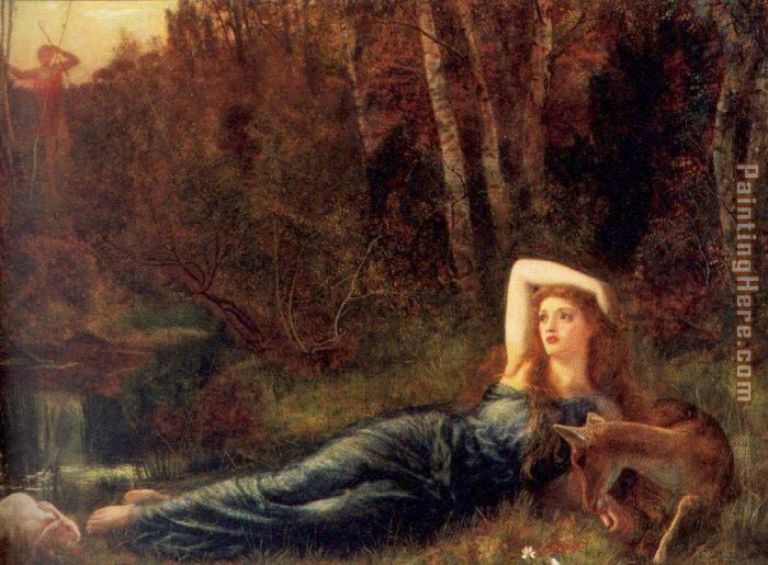 Endymion painting - Arthur Hughes Endymion art painting