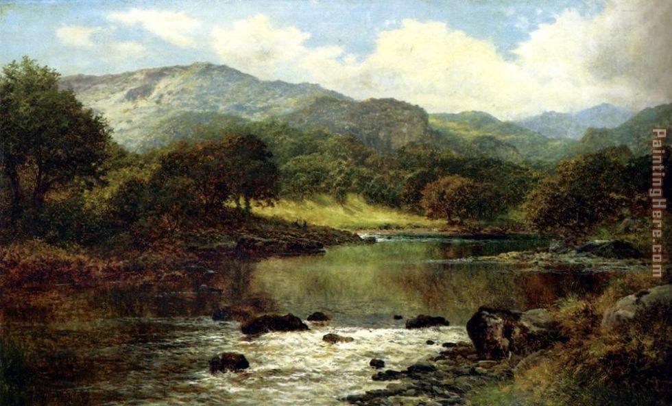 Leader benjamin williams leader a wooded river landscape painting