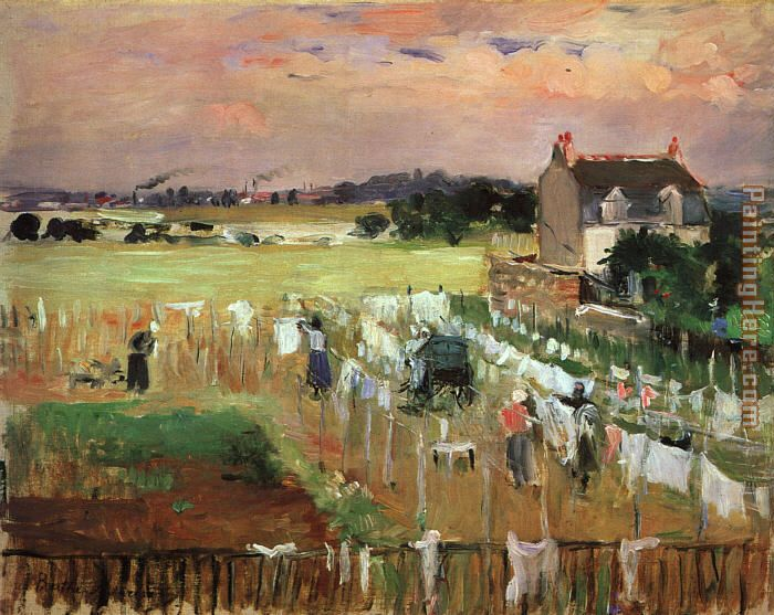 Hanging out the Laundry to Dry painting - Berthe Morisot Hanging out the Laundry to Dry art painting