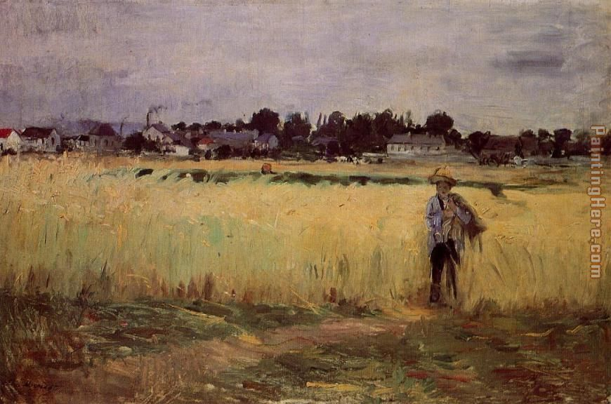 In the Wheat Fields at Gennevilliers painting - Berthe Morisot In the Wheat Fields at Gennevilliers art painting