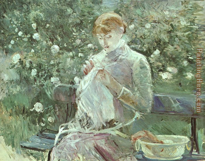 Young Woman Sewing in a Garden painting - Berthe Morisot Young Woman Sewing in a Garden art painting