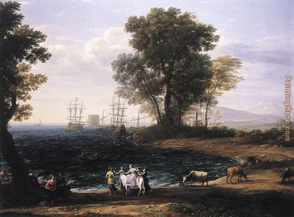Coast Scene with the Rape of Europa painting - Claude Lorrain Coast Scene with the Rape of Europa art painting