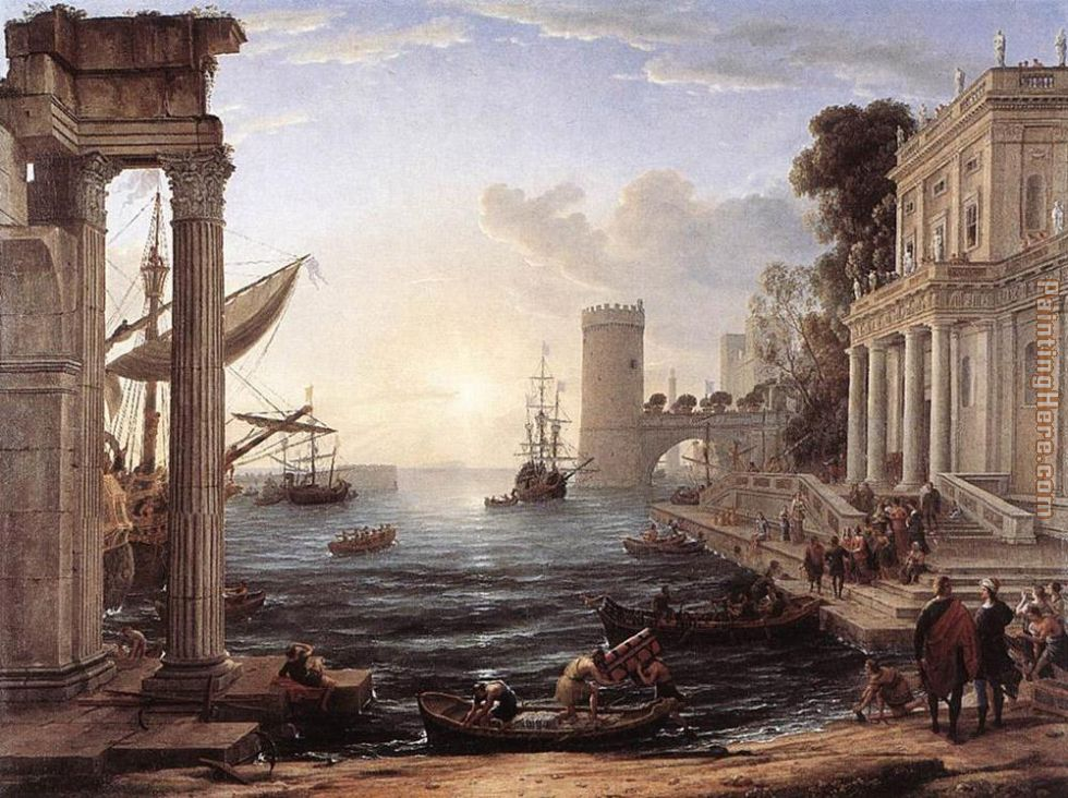 Seaport with the Embarkation of the Queen of Sheba painting - Claude Lorrain Seaport with the Embarkation of the Queen of Sheba art painting