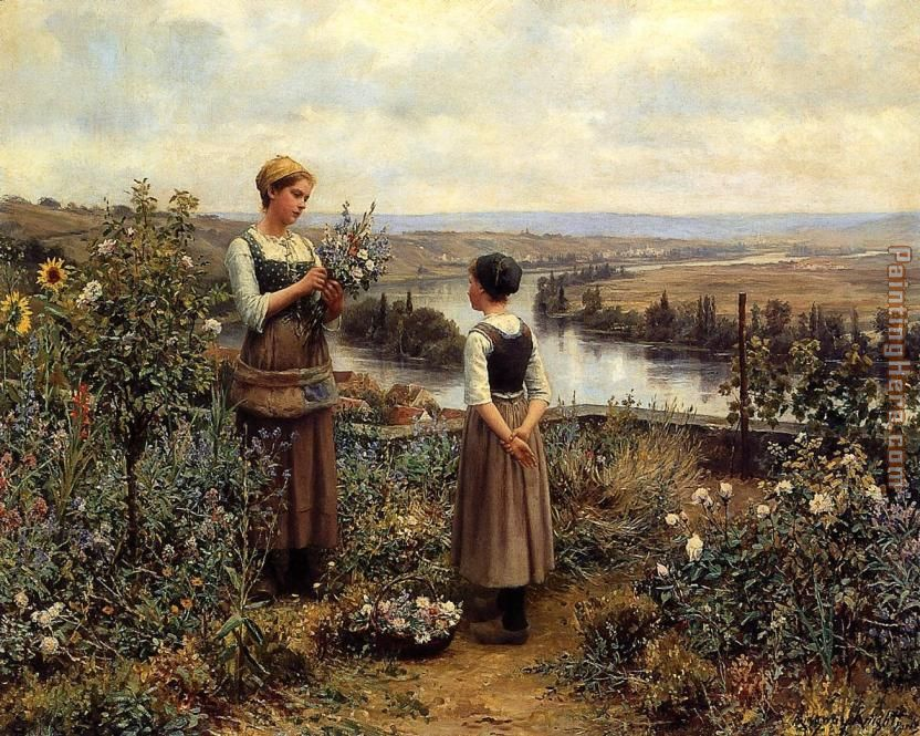 Knight Picking Flowers painting - Daniel Ridgway Knight Knight Picking Flowers art painting