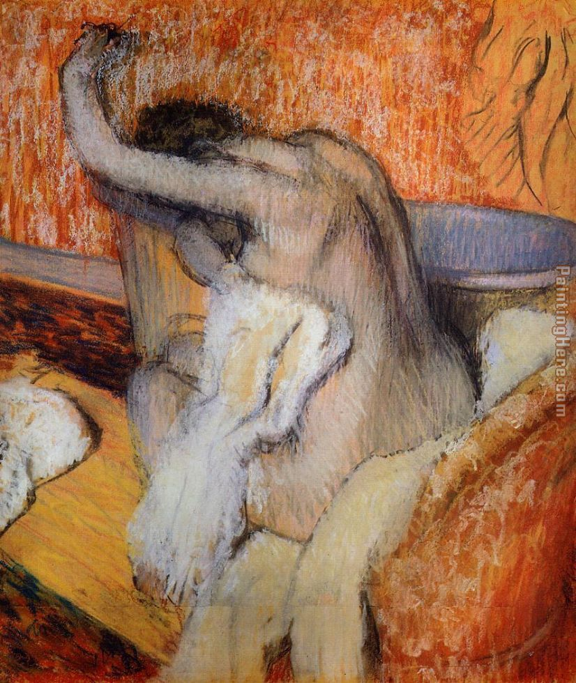 After the Bath, Woman Drying Herself painting - Edgar Degas After the Bath, Woman Drying Herself art painting