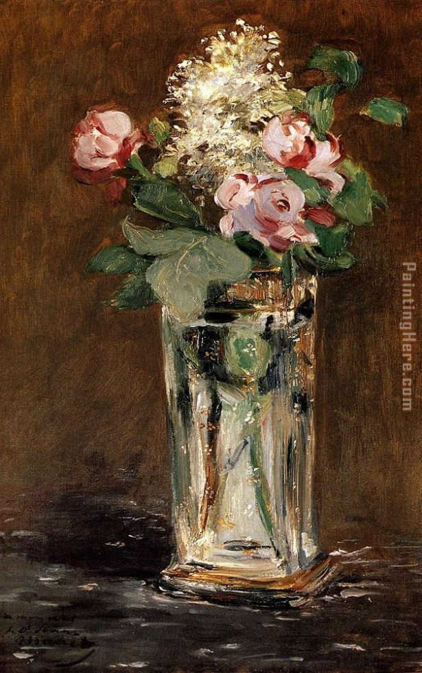 Flowers In A Crystal Vase painting - Edouard Manet Flowers In A Crystal Vase art painting