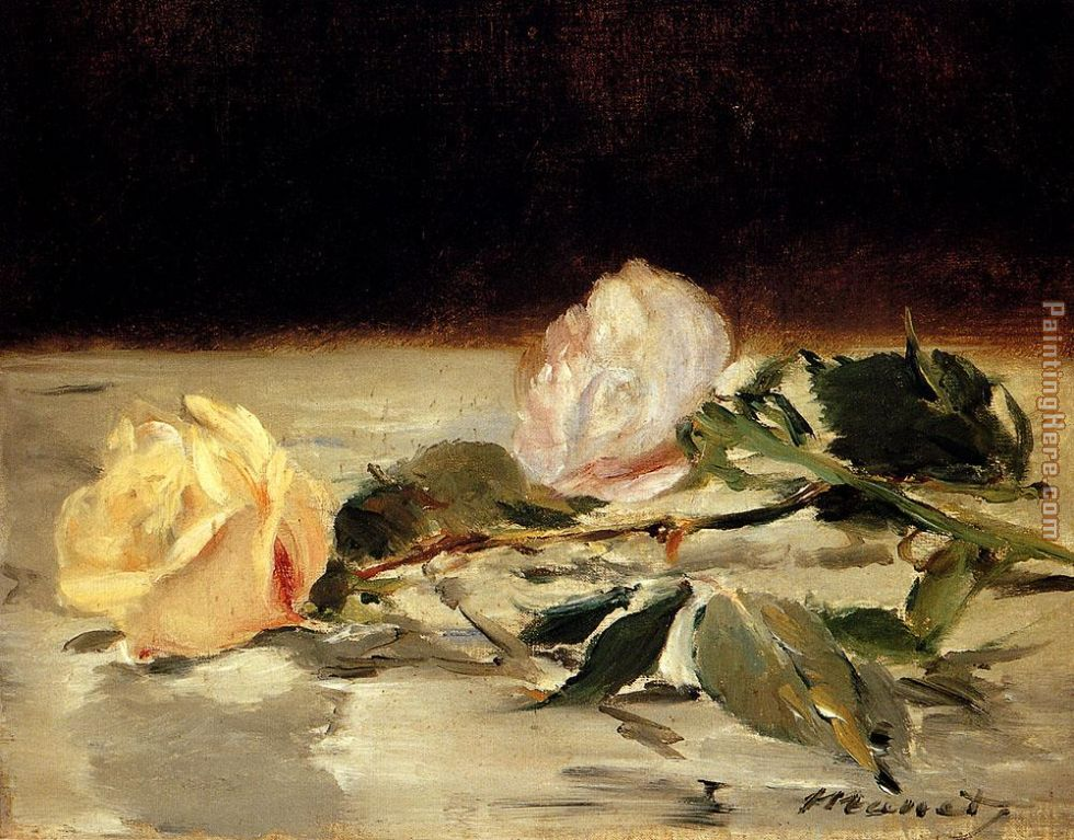 Two Roses On A Tablecloth painting - Edouard Manet Two Roses On A Tablecloth art painting