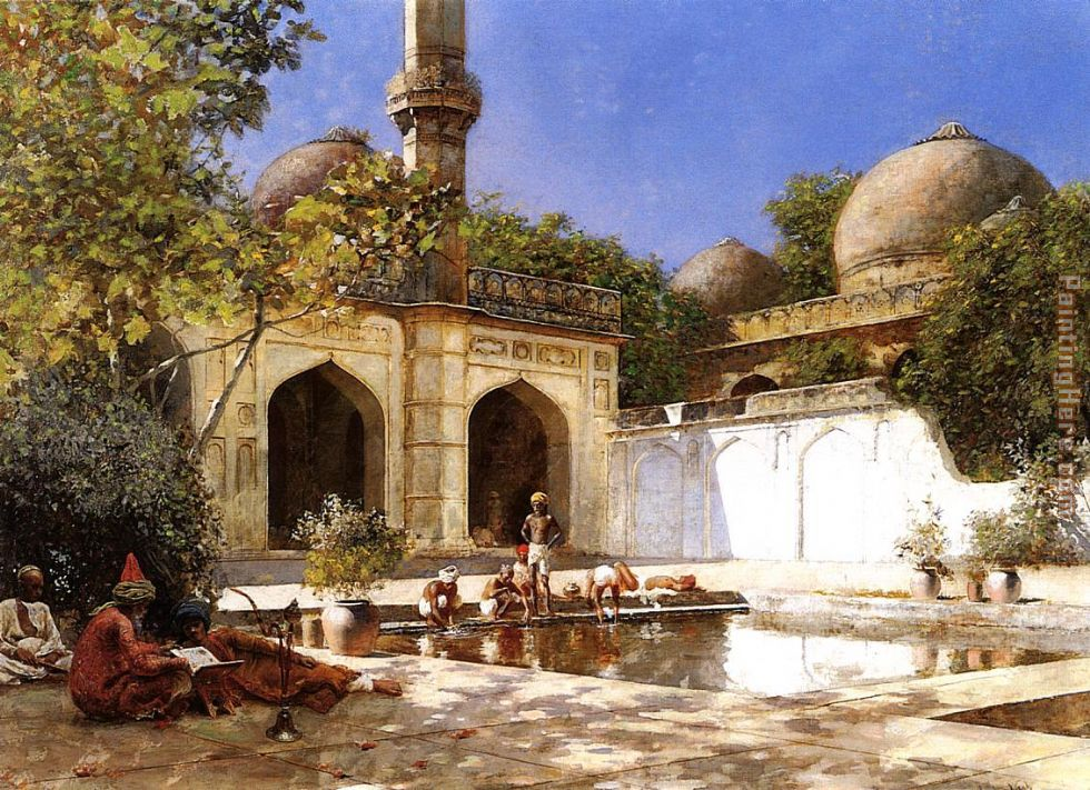 Edwin Lord Weeks Figures in the Courtyard of a Mosque Art Painting