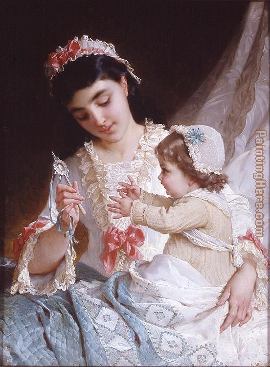 Distracting the Baby painting - Emile Munier Distracting the Baby art painting