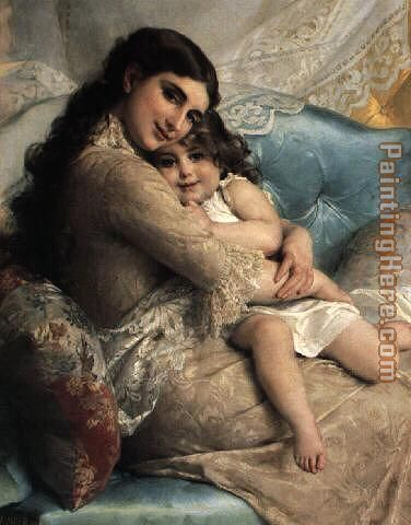 Portrait of a Mother and Daughter painting - Emile Munier Portrait of a Mother and Daughter art painting