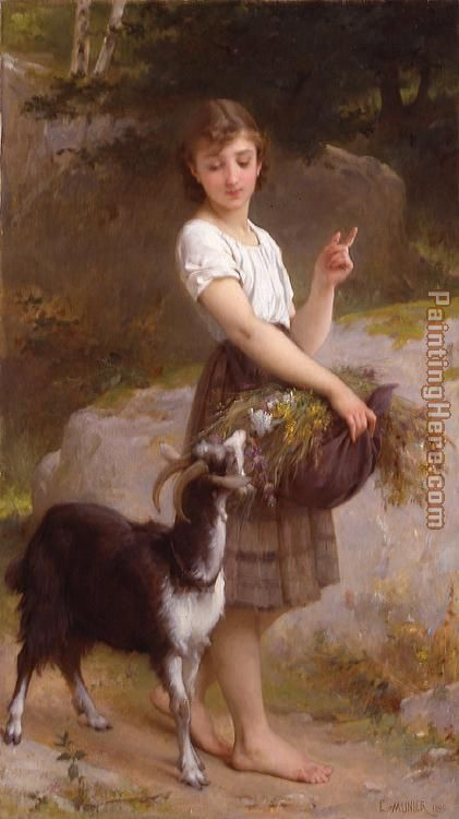 Young Girl with Goat & Flowers painting - Emile Munier Young Girl with Goat & Flowers art painting