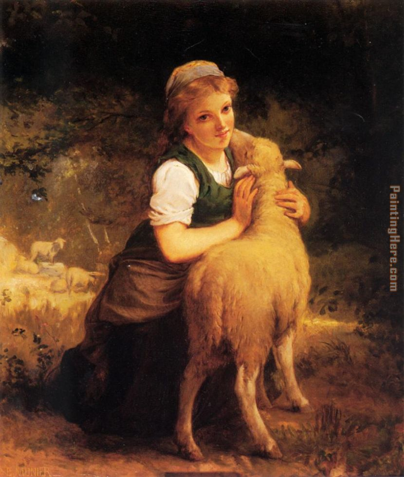 Young Girl with Lamb painting - Emile Munier Young Girl with Lamb art painting