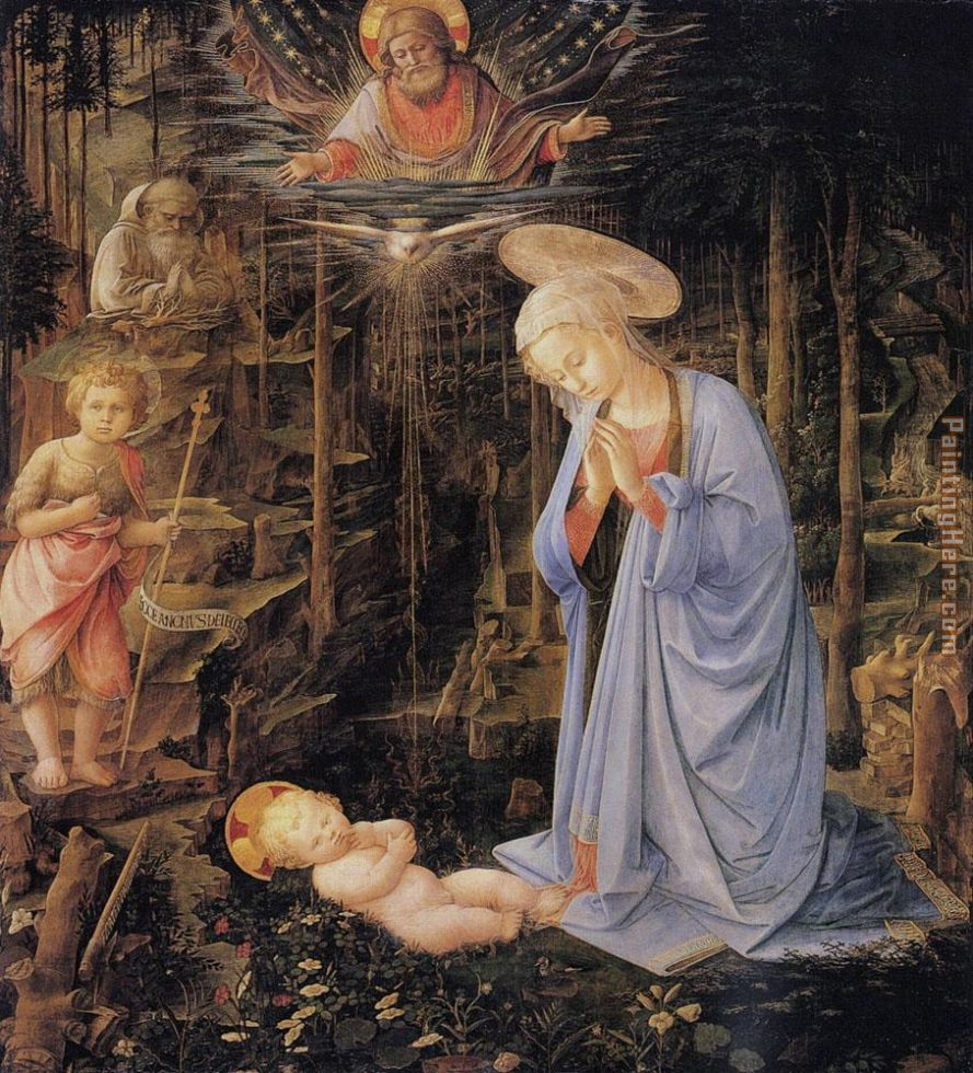 The Adoration with the Infant St painting - Filippino Lippi The Adoration with the Infant St art painting