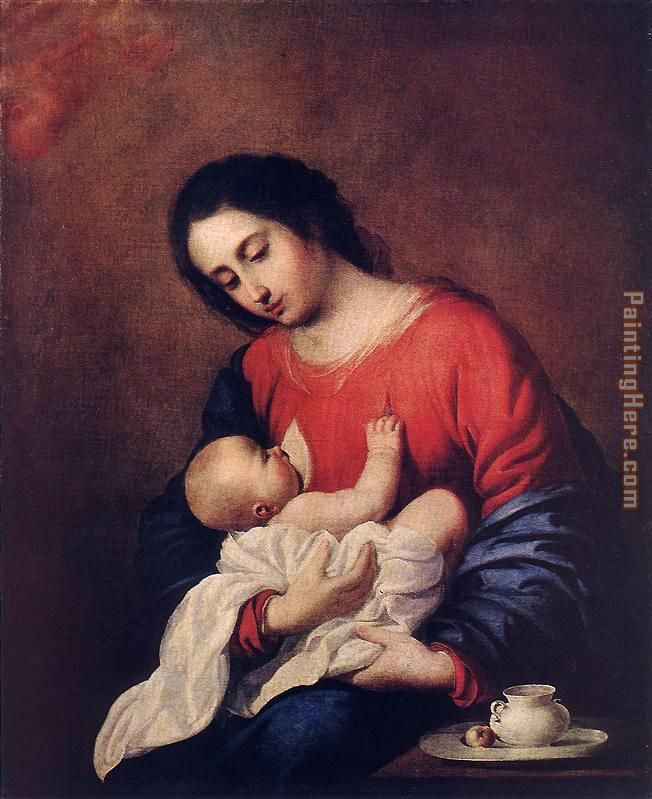 Madonna with Child painting - Francisco de Zurbaran Madonna with Child art painting