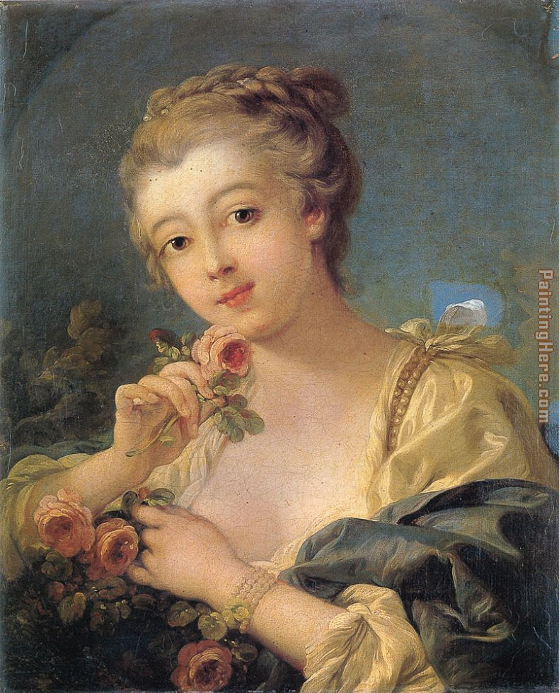 Francois Boucher Young Woman with a Bouquet of Roses Art Painting