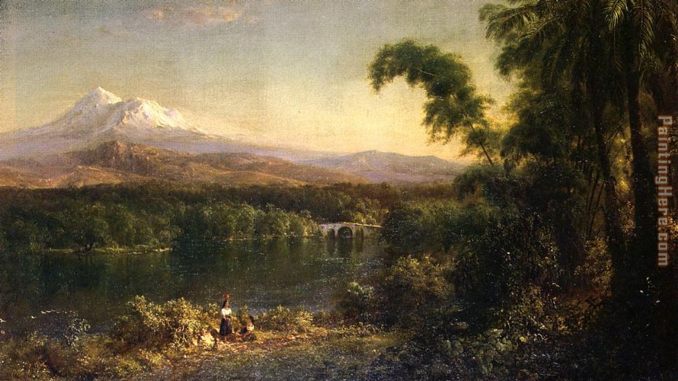 Figures in an Ecuadorian Landscape painting - Frederic Edwin Church Figures in an Ecuadorian Landscape art painting