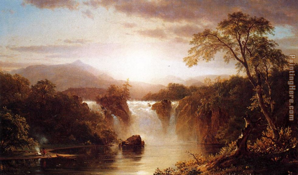 Frederic Edwin Church Landscape with Waterfall Art Painting