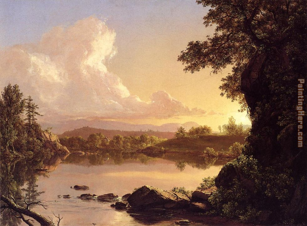 Frederic Edwin Church Scene on the Catskill Creek, New York Art Painting