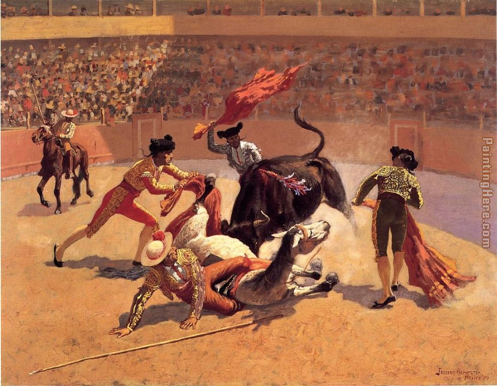 Bull Fight in Mexico painting - Frederic Remington Bull Fight in Mexico art painting