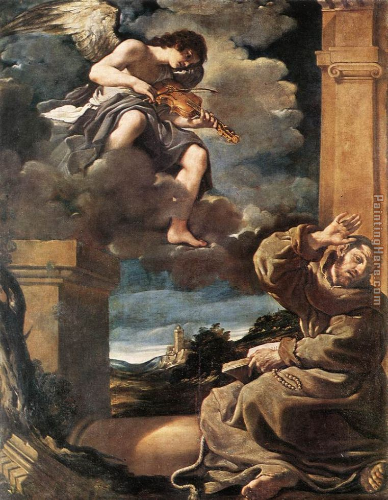 Guercino St Francis with an Angel Playing Violin Art Painting