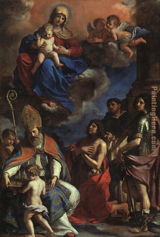 Guercino The Patron Saints of Modena Art Painting