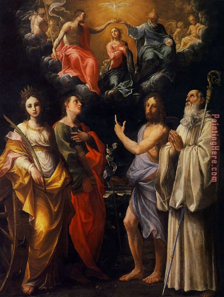 Guido Reni The Coronation of The Virgin with Four Saints Art Painting