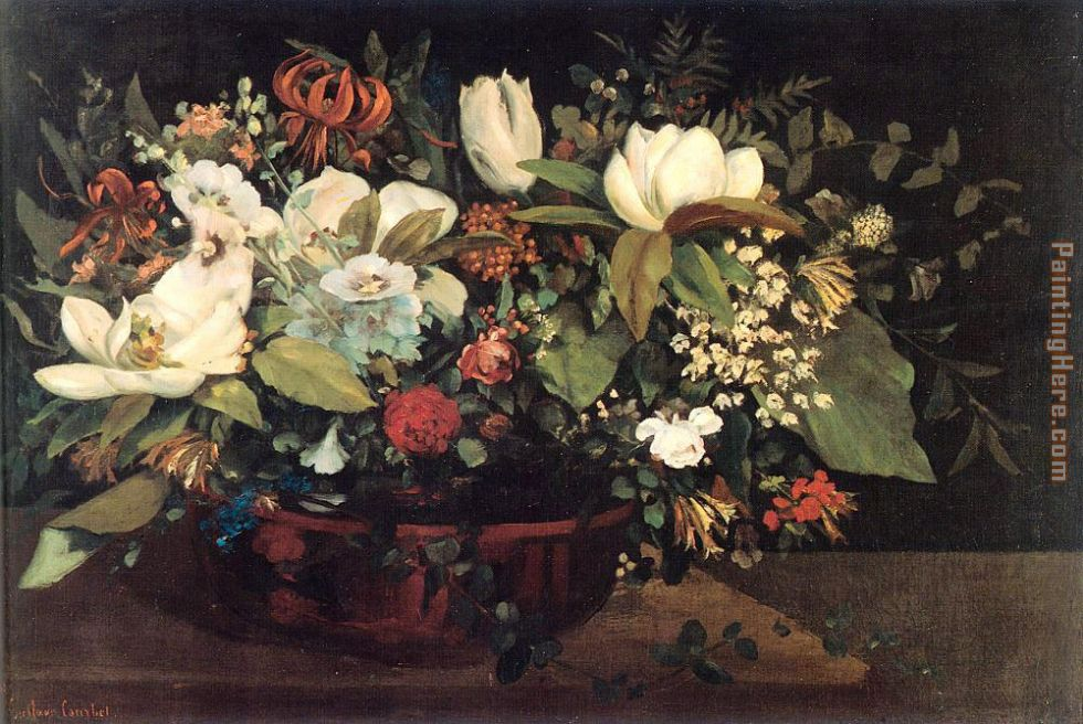 Gustave Courbet Basket of Flowers Art Painting