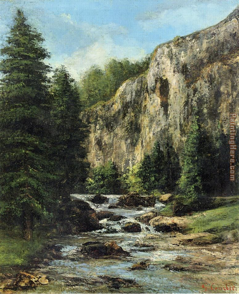Gustave Courbet Study for 'Landscape with Waterfall Art Painting