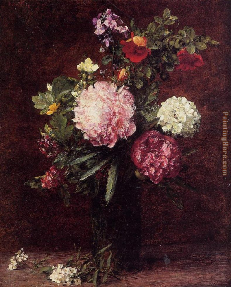 Flowers Large Bouquet with Three Peonies painting - Henri Fantin-Latour Flowers Large Bouquet with Three Peonies art painting