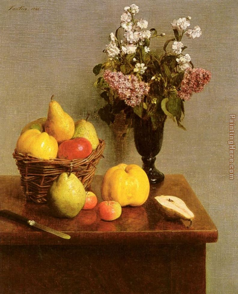 Still Life With Flowers And Fruit painting - Henri Fantin-Latour Still Life With Flowers And Fruit art painting