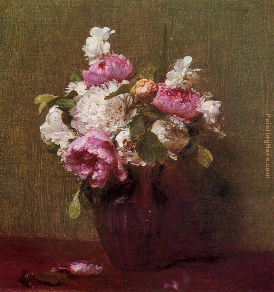 Henri Fantin-Latour White Peonies and Roses Narcissus Art Painting