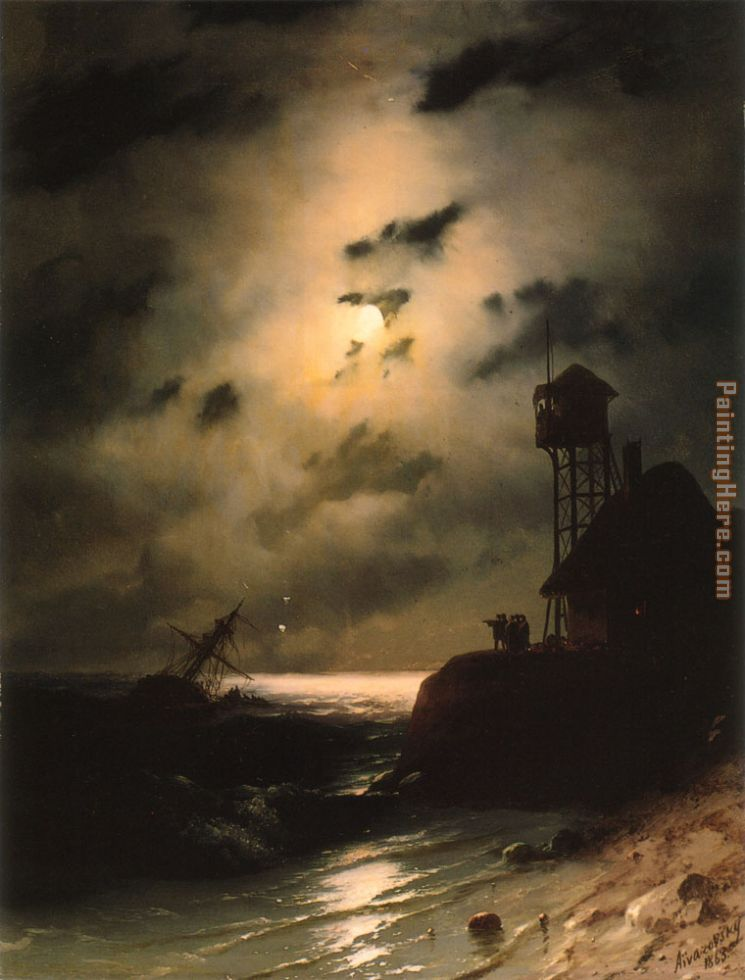 Moonlit Seascape With Shipwreck painting - Ivan Constantinovich Aivazovsky Moonlit Seascape With Shipwreck art painting