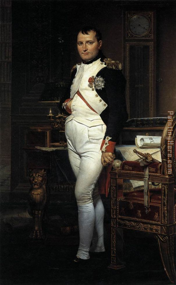Jacques-Louis David Napoleon in his Study Art Painting