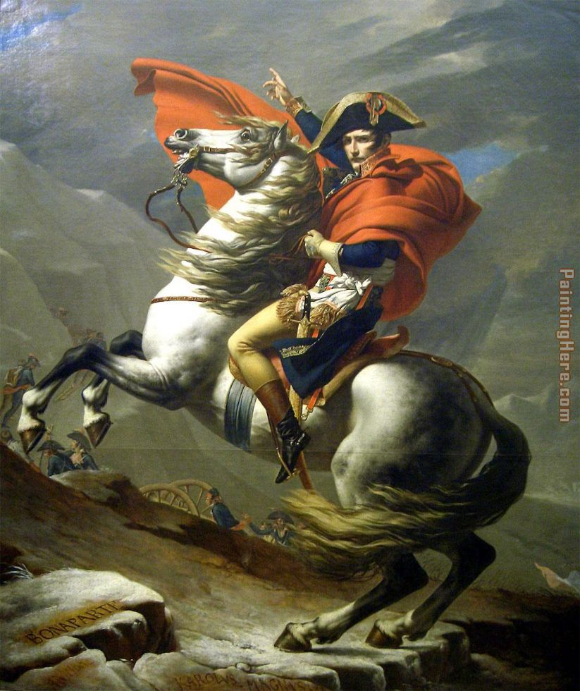 Napoleon at the St. Bernard Pass painting - Jacques-Louis David Napoleon at the St. Bernard Pass art painting