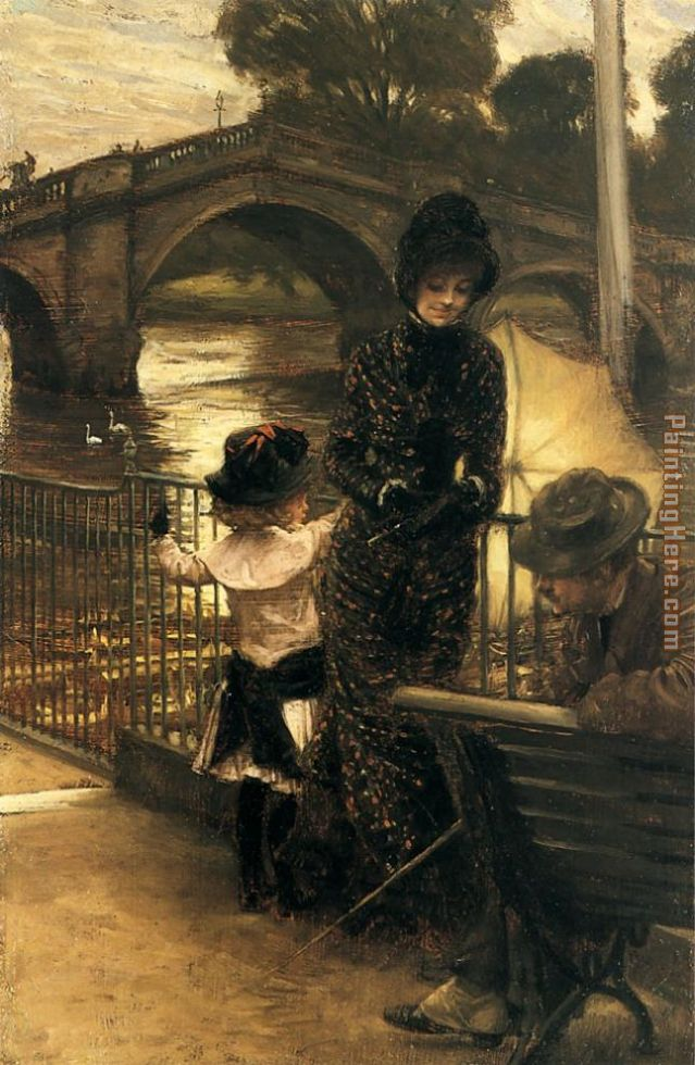 By the Thames at Richmond painting - James Jacques Joseph Tissot By the Thames at Richmond art painting