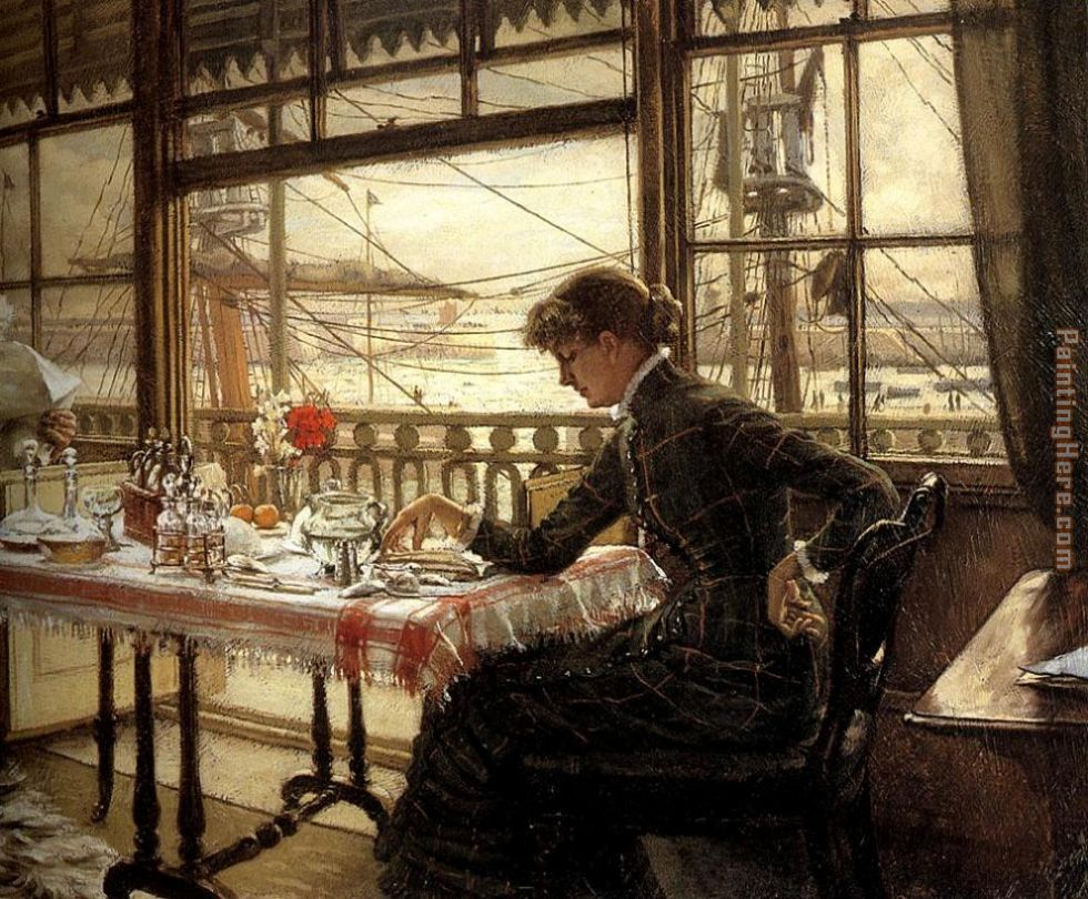 James Jacques Joseph Tissot Room Overlooking the Harbour Art Painting