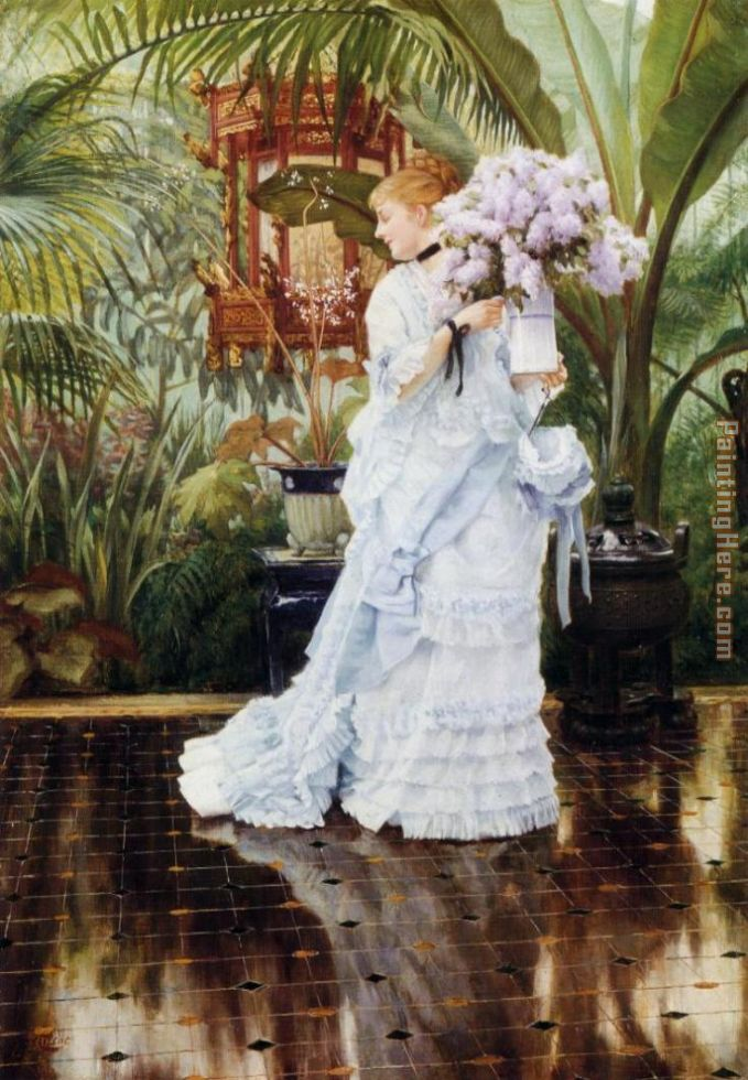 The Bunch of Violets painting - James Jacques Joseph Tissot The Bunch of Violets art painting