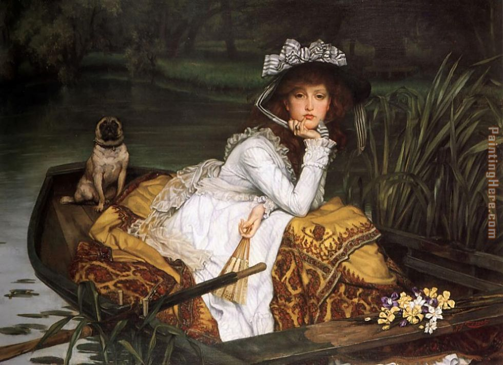 Young Lady in a Boat painting - James Jacques Joseph Tissot Young Lady in a Boat art painting