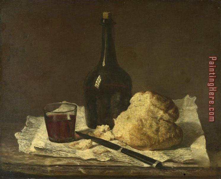 Still Life with Bottle, Glass And Loaf painting - Jean Baptiste Simeon Chardin Still Life with Bottle, Glass And Loaf art painting