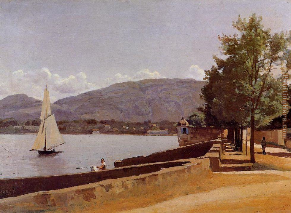 The Quai des Paquis in Geneva painting - Jean-Baptiste-Camille Corot The Quai des Paquis in Geneva art painting