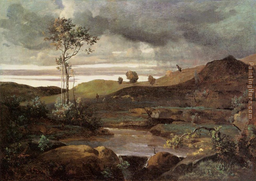 Jean-Baptiste-Camille Corot The Roman Campagna in Winter Art Painting