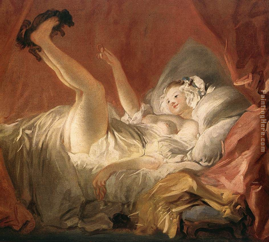 - Jean-Honore Fragonard Young Woman Playing with a Dog Painting